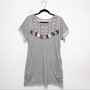 Ellison Gray Embroidered Tassel Sweatshirt Dress